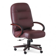 2190 Pillow-Soft Wood Series Executive High-Back Chair, Burg. Leather/mahogany