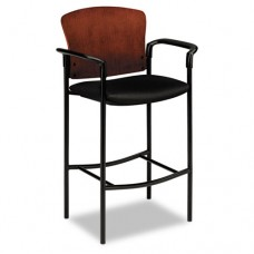 Pagoda 4090 Series Stool, Henna Cherry Wood Back/black Fabric Seat