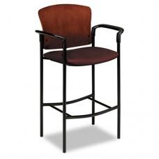 Pagoda 4090 Series Stool, Henna Cherry Wood Back/wine Fabric Seat