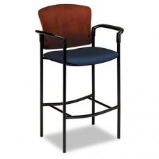 Pagoda 4090 Series Stool, Henna Cherry Wood Back/mariner Fabric Seat