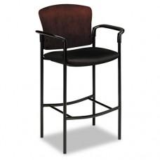 Pagoda 4090 Series Stool, Mahogany Wood Back/black Fabric Seat