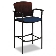 Pagoda 4090 Series Stool, Mahogany Wood Back/mariner Fabric Seat
