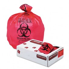 """Health Care """"biohazard"""" Printed Liners, 1.35 Mil, 36 X 58, Red, 100/carton"""