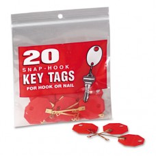 "Snap-Hook Self-Locking Octagonal Plastid Key Tags, 1 1/4"" Diameter, Red, 20/pack"