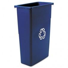 Slim Jim Recycling Container, Rectangular, Plastic, 23gal, Blue