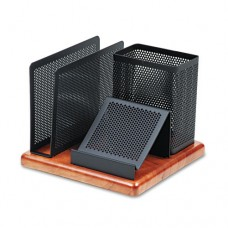 Distinctions Desk Organizer, Metal/wood, 5 7/8 X 5 7/8 X 4 1/2, Black/cherry