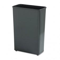 Fire-Safe Wastebasket, Rectangular, Steel, 24gal, Black