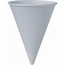 4 OZ ROLLED RIM UNPRINTED PAPER WATER CUP/CONE